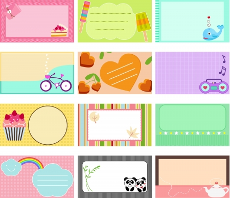 popsicle: A Cute Collection of Vector Label   Card   Name card   Tag in pastel colors Illustration