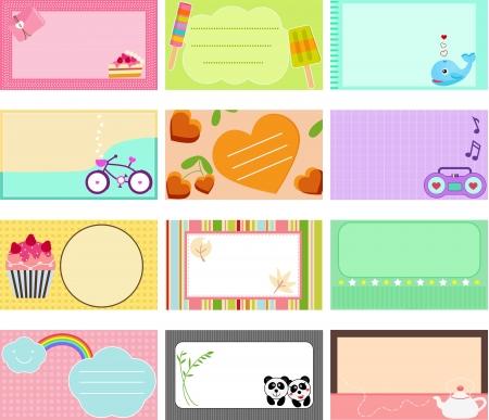 pastel colours: Una linda colecci�n de etiquetas Tag Vector tarjeta de tarjeta de identificaci�n en colores pastel Vectores