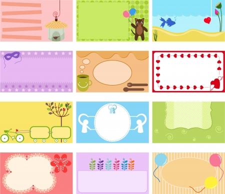 Een leuke verzameling van Vector Label Card Name Tag-kaart in pastel kleuren Vector Illustratie