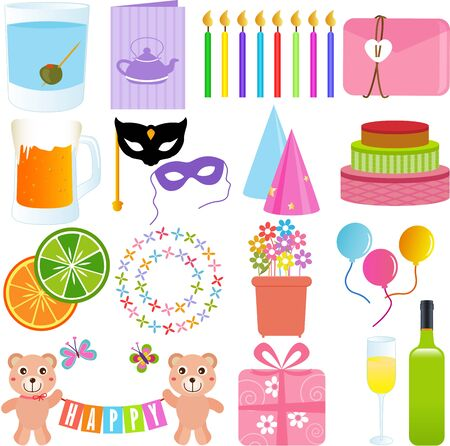 Vector Icons   Cute Party Element, in sweet pastel colors Vector