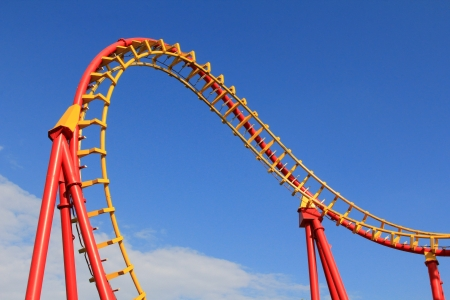 roller coaster: A Roller coaster track in Red and Yellow at Amusement park in Vienna, Austria Stock Photo
