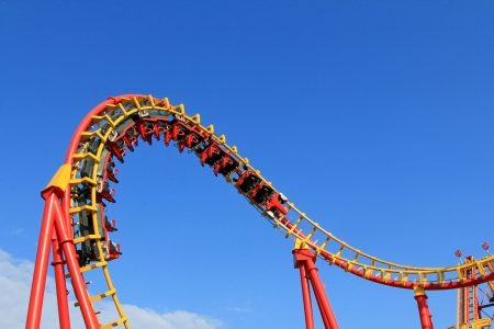 amusement park ride: Boomerang, a Roller Coaster ride at 85km h  53mph  at Prater Amusement park in Vienna, Austria