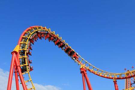 Boomerang, een achtbaan op 85km h 53 mph op pretpark Prater in Wenen, Oostenrijk