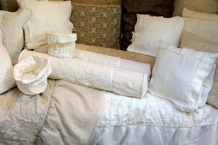 Hand-made Vintage Linen Pillow Cases with Cotton Crochet lace, all natural product photo