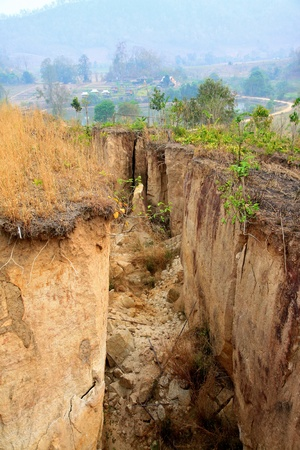 A huge space between dried lands   Land Cracked, natural disaster Stock Photo - 15170025