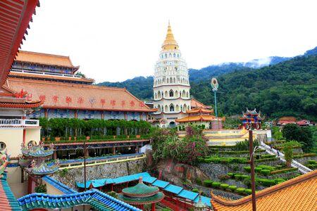 historical building: Colorful Buddhist Temple of Supreme Bliss with the Pagoda of 10,000 Buddhas   Lek Kok Si, Penang, Malaysia  Stock Photo