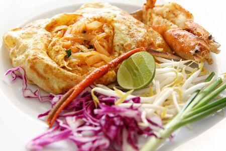Thai stir-fried rice noodles with fresh shrimp Pad Thai   Phat Thai Stock Photo - 15169941