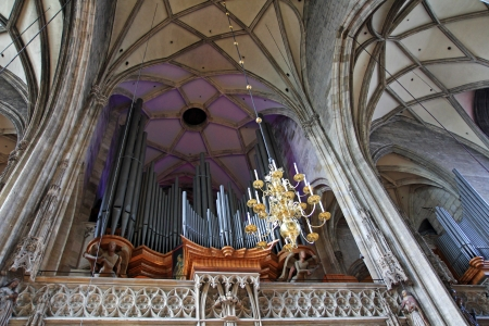 A big Pipe Organ at St  Stephen s Cathedral  Stephansdom  in Vienna, Austria