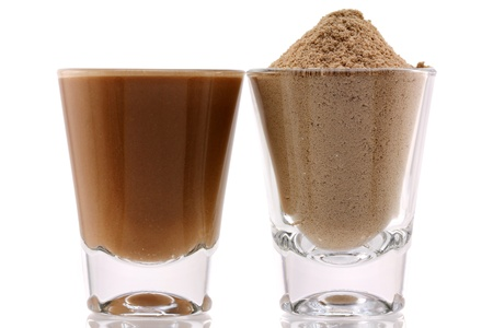Protein Powder with Chocolate Flavor and Mixed with Water Banco de Imagens