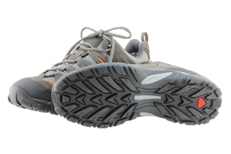 rubber sole: Lightweight Day Hiking boots  shoes  for men, isolated on white background Stock Photo