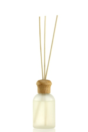 air diffuser: A Bottle of Lavender Fragrant Oil Diffuser with Reed Sticks, isolated on white
