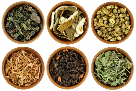 chinese herbal medicine: Dried Herbal Tea   Mulberry, Kaffir Lime Peel, Chrysanthemum, Lemongrass, Chinese Jasmine, Stevia Tea Stock Photo