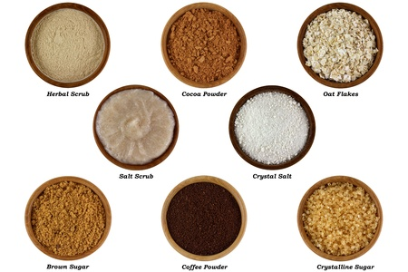 sugar: Set of Natural Products to Make Facial or Body Scrub, Isolated on white background