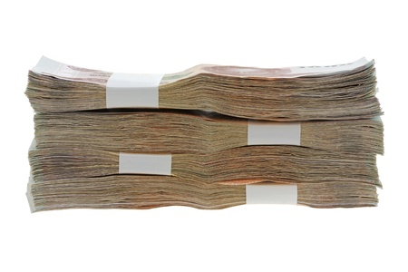 baht: Thai Baht money   a stack of 1000 banknotes isolated on white background