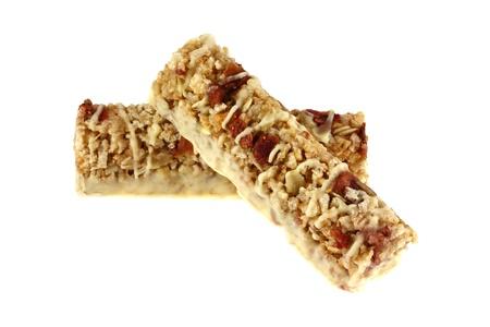 barre de c�r�ales: Healthy Snack Bars Strawberry Yogurt c�r�ales - riz croustillant et flocons de bl�, fraises et rev�tement de yogourt aromatis� Banque d'images