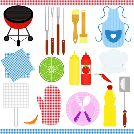A colorful Icons   set of Barbecue   Grill  BBQ  theme isolated on white  Vector