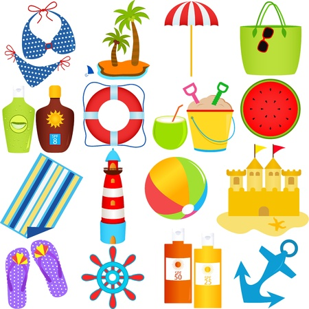 A colorful set of cute Vector Icons : Beach in the Summer Theme, isolated on white  Stock Illustratie