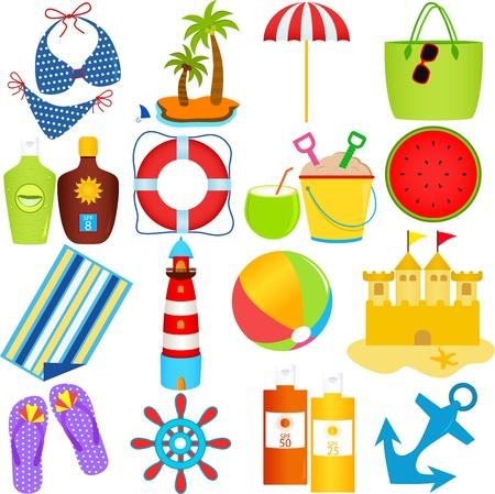 playa caricatura: Un conjunto colorido de iconos vectoriales lindos: Playa en el tema del verano, aislado en blanco