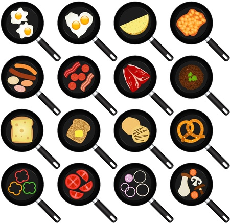 A collection of Breakfast Ingredients   Fried Food In Non-stick Frying Pans Skillets Illustration