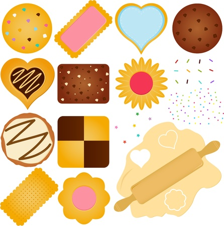 biscuits: A set of Icons  Cookies and Biscuit with a Dough