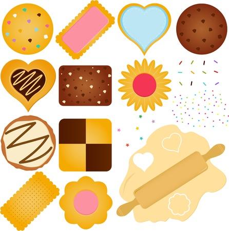 galleta de chocolate: Un conjunto de iconos Galletas y Galletas con una masa