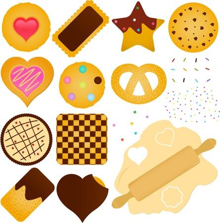 Un set di icone e Cookies Biscotti con pasta