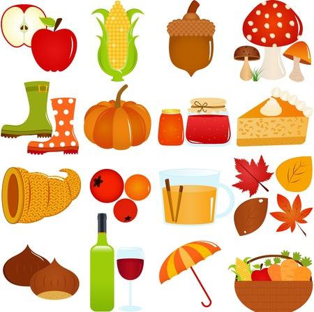 Un conjunto colorido de iconos lindo tema de la caída del otoño, aislado en blanco