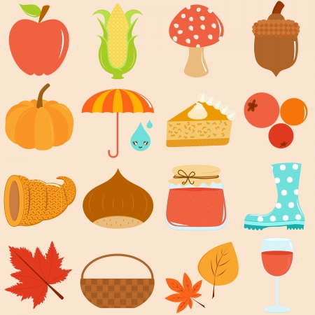 Cute Icons   Autumn   Fall Theme Vector