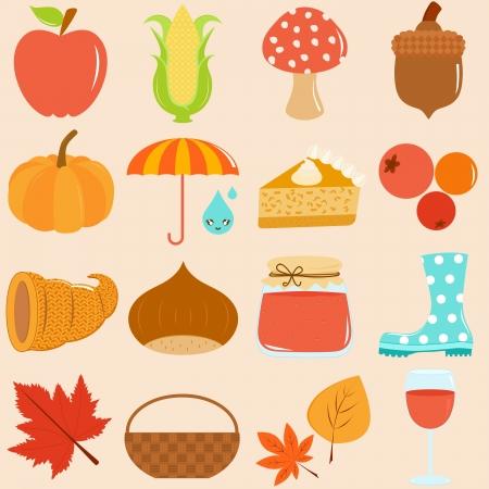 Cute Icons   Autumn   Fall Theme Stock Vector - 15751640