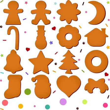 A set of Icons   Blank Gingerbread  Christmas festival biscuit - cookie   Vector