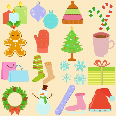 A Set of Cute Icons   Winter   Christmas Theme Stock Vector - 15814751