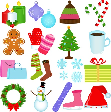 A Set of Cute Icons   Winter   Christmas Theme Vector