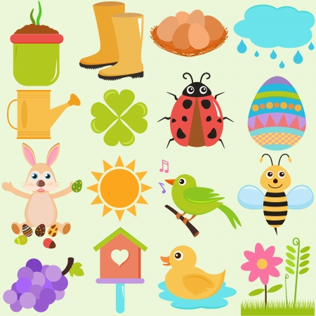rubber boots: A Set of Cute Vector Icons   Spring SeasonTheme