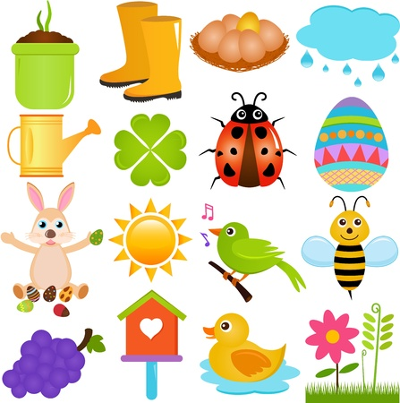 A colorful set of cute Vector Icons   Spring SeasonTheme, isolated on white  Vector