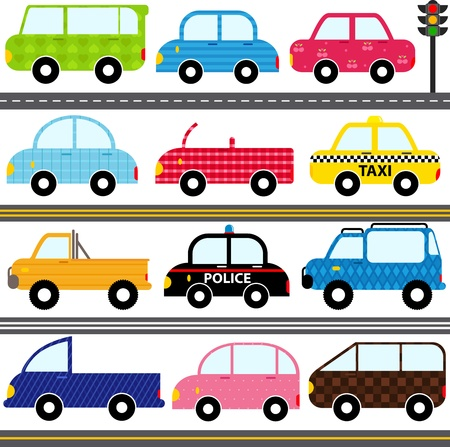 A set of cute Vector Icons   Car   Vehicles   Transportation
