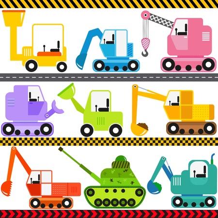 yellow tractor: Un conjunto de iconos vectoriales lindo Tractor Transporte Ingenier�a Veh�culos Vectores