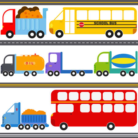 A set of cute Vector Icons   Bus, Truck Vehicles   Freight Transportation Stock Vector - 15858306