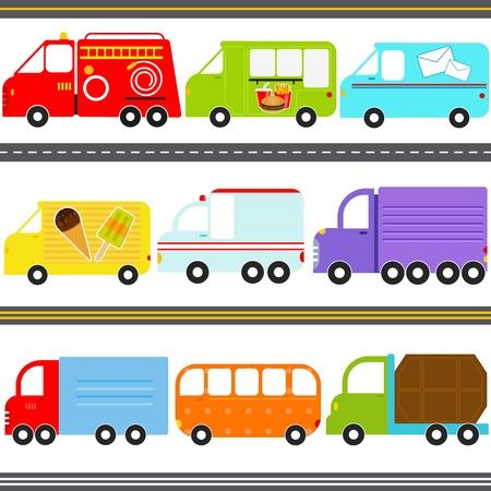 camion de basura: Un conjunto de iconos vectoriales lindo Transporte Camiones de Carga Van Vehículos