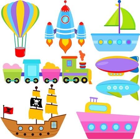 barca a vela: Un insieme di carino vettore Barca icone Nave Aereo Trasporto Veicoli