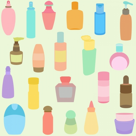 serum: A set of Bottle, perfume, glass, containers in Pastel color