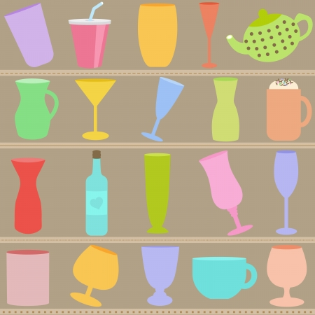A set of Bottle and Glass in Pastel color Stock Vector - 16058266
