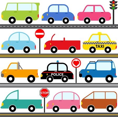 carritos de juguete: Un conjunto de iconos lindo Car Veh�culos de Transporte Vectores