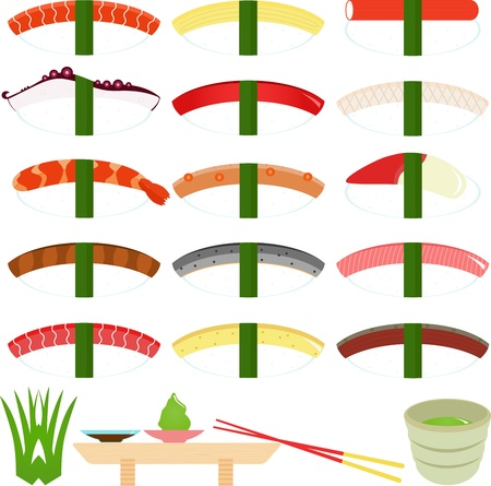A set of Food Icons  Japanese Cuisine - Nigirizushi  Hand-formed Sushi  Vector