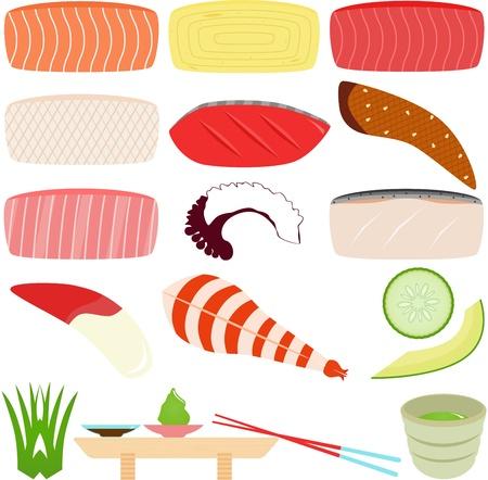 egg roll: A set of Food Icons  Japanese Cuisine - Sushi - Sashimi  Fresh Raw Fish  Illustration