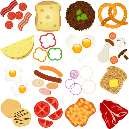 A collection of Breakfast and Lunch Ingredients Vector