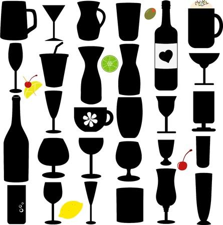 jarra de cerveza: Un conjunto Silueta de botella de vidrio y Vectores
