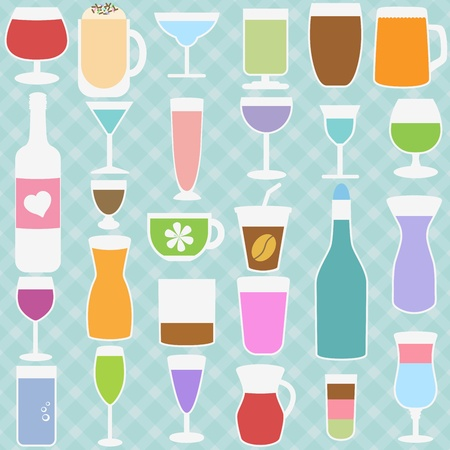 A set of Bottle and Glass in Pastel color Vector