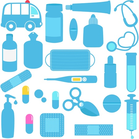 medical drawing: Cute icons  Medicines, Pills, Medical Equipments in Blue Illustration