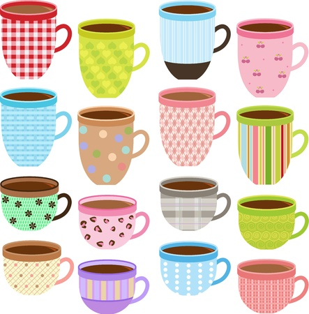 collection of Cup and Mug of Coffee, Chocolate, in Pastel color Vector