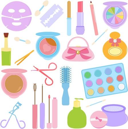 pinzas: Un vector conjunto de cosméticos, maquillaje de color pastel Vectores